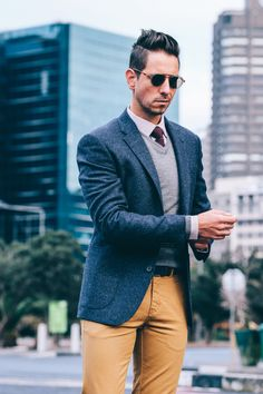 Fancy, Dapper, Men, Smart, Casual, Grey Knit, Ties, Leather Shoes, Brown, Shoes, Sunglasses, Menswear, Mens Style, Fashion, Mens Fashion, Trenery, Chinos, Wardrobe, Fathers Day, City Style