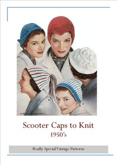 1950's Scooter Hats Pdf Vintage Knitting by PamoolahVintage, $3.00