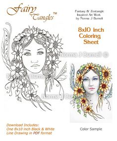 New Fairy-Tangles Coloring Sheet by Norma J Burnell 8x10 inches