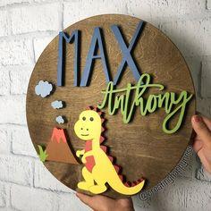 20 Dino Sign Name Sign Wood Cutout Dinosaur Decor Nursery Signs, Nursery Decor, Dinosaur Nursery, Dinosaur Dinosaur, Wood Stain Colors, Baby Name Signs, Diy Wood Signs, Wood Cutouts, T Rex