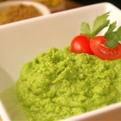 """Sweet Pea Mockamole Allrecipes.com  Not sure if this would be """"YUMMY"""" but it certainly is interesting, right?"""