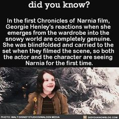 In the first Chronicles of Narnia film, Georgie Henley's reactions when she emerges from the wardrobe into the snowy world are completely genuine. She was blindfolded and carried to the set when they filmed the scene, so both the actor and the. Narnia Movies, Narnia 3, Watch Narnia, Narnia Cast, Georgie Henley, Movie Facts, Fun Facts, Did You Know Facts, Chronicles Of Narnia