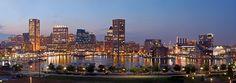 Panorama of the Inner Harbor. Baltimore, Maryland, USA.