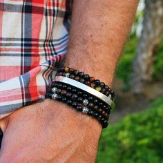 Black Agate / Ebony Wood Wrap Bracelet