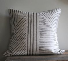 Pewter geometric handprinted hemp pillow cover by melongings