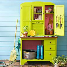 Repurposed Potting Bench but paint it yellow instead - need check out Craigslist for the same kind of cabinet