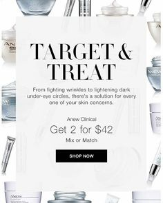 What a GREAT sale!  Anew Clinical - any 2 for $42.  @http://avon4.me/2uAiWNH I can personally recommend AHA refining cream....Anew Clinical eye lift....and the extra strength retexturing peel.  I use all of them!! #anew #avon #peel #aha #eye #moisturizer