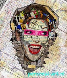 Girl on the go, deze patch collage heeft een fantastisch achtergrond met allerlei verschillende kaarten. Wil je ook je eigen ideeën en patronen zien in jouw patch collage, dat is geen probleem. Stuur ze mee met de upload van jouw foto en we gaan met jouw patronen aan de slag om jouw speciale patch collage pop art te maken.