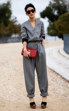 jumpsuit: V-neck, black cuffs, cinched at waist ... yes, please