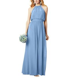 Alfred Angelo 7302 is a floor length jumpsuit witha blouson, halter neckline and a natural waist.Alfred Angelo Bridesmaid Style7302 hasbillowing pants that look like a long, a-line skirt.