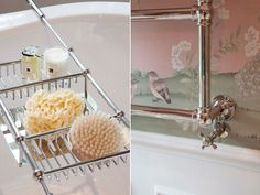 En-suite bathroom details with bespoke Fromental wallcovering inspired by Louis XV era | JHR Interiors