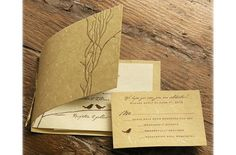 Beach Boho Chic Eco Friendly Hip Romantic Rustic Shabby Chic Vintage Brown Gold Barn Country Fall Garden Historic Site Invitations Restaurant Summer Vineyard Winter Wedding Invitations Photos & Pictures - WeddingWire.com
