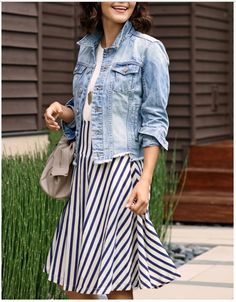 Summer Outfit. Denim Jacket with a Tunic Tank and Striped Skirt. #EverEve