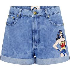 Paul & Joe Sister - Carter Wonder Woman Denim Shorts ($195) ❤ liked on Polyvore featuring shorts, bottoms, pants, short, embroidered denim shorts, embroidered shorts, jean shorts, cotton shorts and short cotton shorts