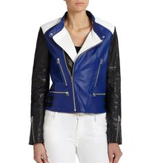 EACH X OTHER Colorblock Leather Moto Jacket (7 540 SEK) ❤ liked on Polyvore featuring outerwear, jackets, apparel & accessories, genuine leather jacket, blue moto jacket, leather jacket, asymmetrical moto jacket and leather biker jacket