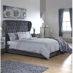 Double or King Winged Ottoman Bed with Optional Bonnell Mattress Ottoman Storage Bed, Ottoman Bed, Upholstered Ottoman, Bed Storage, Grey Ottoman, Fabric Ottoman, Storage Area, Home Bedroom, Bedroom Decor