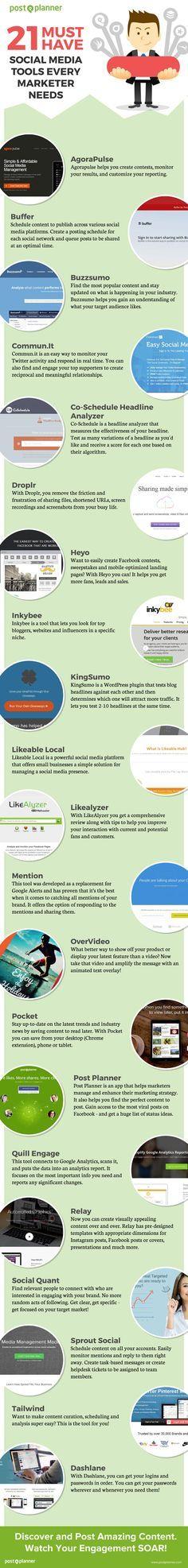 21 Social Media Tools, die man als Manager beachten sollte 21 Must Have #SocialMedia #Tools Every Marketer needs