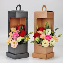 Lighthouse Portable Flower Paper Box Black and Brown Folding Floral Box Packaging Flower Basket Florist supplies-in Gift Bags Flower Box Gift, Flower Basket, Flower Boxes, Flower Packaging, Box Packaging, Paper Flowers Diy, Flower Crafts, Diy Gift Box, Diy Gifts