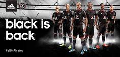 Orlando Pirates FC adidas Home and Away Kits Football Fashion, Print Advertising, Happy People, Home And Away, Black Adidas, Orlando, Pirates, Sport Sport, Kit