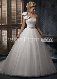 Gorgeous  Ball Gown One-shoulder  Bowknot Embellishing Wedding Dresses--not so sure about the bow
