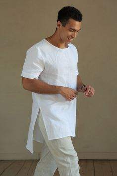 Maxi Mens linen t-shirt Summer shirt Shirt for men Stylish t-shirt White t-shirt Gift for him Tunic for men Outfit clothes Long shirts Linen Tshirts, Shirt Outfit, T Shirt, Summer Shirts, Stylish Men, A Team, Boho, Boxers, Mens Fashion