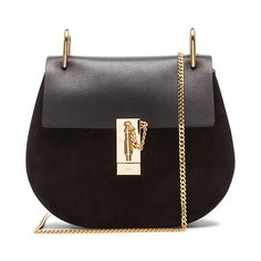 Chloe Small Drew Suede & Leather Bag (€1.900) ❤ liked on Polyvore featuring bags, handbags, shoulder bags, purse shoulder bag, man bag, suede shoulder bag, kiss-lock handbags and chain shoulder bag