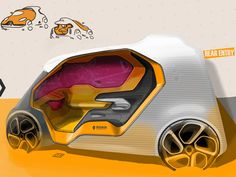 Sketches we like / Digital Sketch / Transportational / renault / Yellow /
