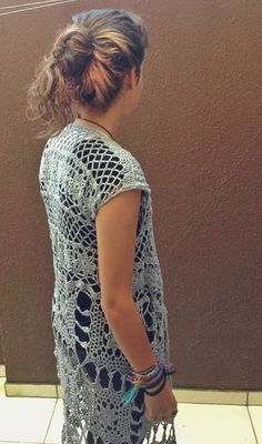 Crochet Poncho, Crochet Hats, Short Sleeve Dresses, Dresses With Sleeves, Knit Picks, Crochet Clothes, Boho, Ideias Fashion, Kimono