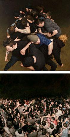 Incredible figurative oil paintings mosh pit paintings by talented American artist Dan Witz. Dan Witz Selected Works, Street Art and Gallery Work.