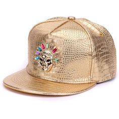 Crocodile skin Boy snap backs metal decoration PU leather flat brim baseball  caps hip hop hat for men 7f9c8c03bc27
