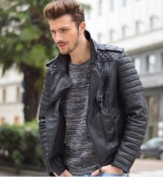 Leather Jeans Men, Leather Jacket Outfits, Lambskin Leather Jacket, Leather Fashion, Mens Fashion, Style Fashion, Leather Jackets For Sale, Hommes Sexy, Mens Clothing Styles