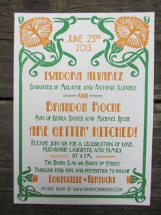 Letterpress Wedding Invitation  Art Nouveau by SeasidePress, $4.00