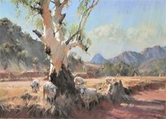 Moralana Tree and sheep-56 x 77cm May 2018 Australian Painting, Australian Artists, Watercolor Landscape, Landscape Art, Cool Landscapes, Famous Artists, Love Art, Art Reference, Exhibitions