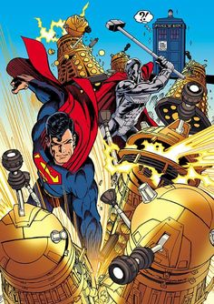 Dr. Who, Superman and Steel vs. Daleks by Jon Bogdanove