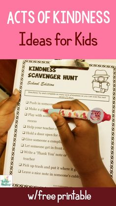 Acts of kindness ideas for kids to help them learn how to practice being kind. Includes a free kindness scavenger hunt to help younger and older kids have fun while doing good deeds. Source by kiddiematters Kindness For Kids, Teaching Kindness, Kindness Activities, Activities For Kids, Random Acts Of Kindness Ideas For School, Educational Activities, Classroom Activities, Bible Lessons, Lessons For Kids