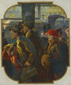 'End of the Working Day (Commuter Rush)' (1920) Norman Rockwell