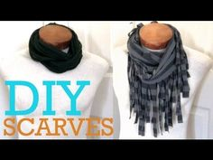 http://www.ThGreenGirls.com -- DIY: Fall Scarves - 2 Ways To Make A Scarf From A T-shirt!    It's scarf season! Here are two easy ways to make scarves out of t-shirts. Both the Fringe Scarf & Rope Scarf gives an added effortless look to any outfit. As you can see on the video, this is something you can make for all ages. Have fun making these cute...
