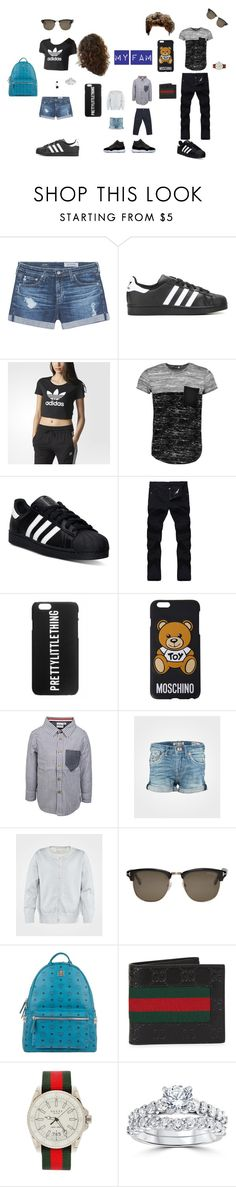 """""""My family"""" by brooklyn0-hadley4 ❤ liked on Polyvore featuring AG Adriano Goldschmied, adidas, Boohoo, Moschino, Ebbe, STELLA McCARTNEY, Tom Ford, MCM, Gucci and Bliss Diamond"""