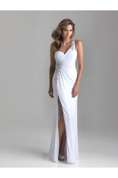 Split Front One Shoulder Applique White Prom Dresses - Prom Dresses - Special Occasion Dresses on sale at reasonable prices, buy cheap Split Front One Shoulder Applique White Prom Dresses - Prom Dresses - Special Occasion Dresses at www.simondress.com now!