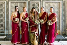 Nice Deep Color For The Bridesmaids Matching With Brides Outfit Indian Bridesmaid DressesBridesmaid SareeIndian Wedding