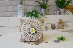 Wedding Ring Pillow, Burlap Ring Pillow, Crochet, Hand made Lace, Unique, ring bearer, hessian pillow, bride, wedding decorations, rustic by OutOfMyBubble on Etsy