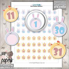 Countdown Stickers, Planner Stickers, Reminder Stickers, Planner Accesories, Numbers, Rabbit Stickers, Chicken Stickers, Erin Condren