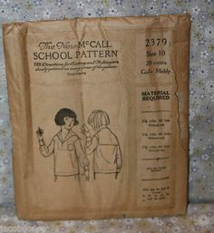 The New McCall School Pattern 2379 Girl's Middy Sailor Shirt Size 10 1920s | eBay