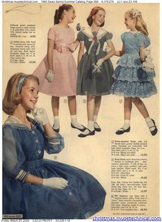 1960 Sears Spring Summer Catalog, Page 368 - Christmas Catalogs & Holiday Wishbooks Vintage Kids Fashion, Vintage Kids Clothes, Vintage Girls Dresses, 60s And 70s Fashion, Little Girl Dresses, Vintage Skirt, Retro Fashion, Vintage Outfits, Girl Fashion