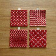 〔受注製作〕刺し子のminiコースター(赤)の画像