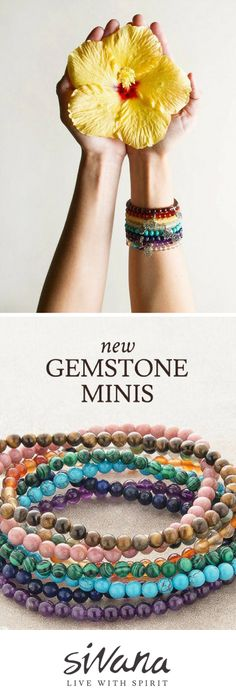 Feel the energy with our NEW fair trade Mini Gemstone Energy Bracelets! For every bracelet purchased, we'll donate a full year supply of Vitamin A to Indian children in desperate need. Memory Wire Bracelets, Gemstone Bracelets, Boho Jewelry, Jewelery, Silver Diamonds, Stones And Crystals, Fair Trade, Jewelry Making, Gemstones