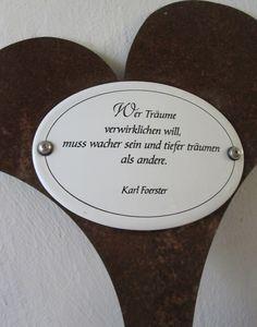 Traumhaftes Emailschild mit Karl-Förster-Spruch - nicht nur für Träumer eine ausgefallene Geschenkidee.