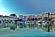 Charming Tenby Harbour, just 5 minutes from us at Celtic Haven! Pembrokeshire Coast, Beautiful Places To Visit, South Wales, Welsh, Childhood Memories, Celtic, New York Skyline, Castle, Pretty