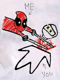 Drawing from Deadpool movie Heros Comics, Marvel Dc Comics, Marvel Heroes, Anime Comics, Deadpool And Spiderman, Batman, Deadpool Stuff, Deadpool Movie, Mundo Marvel