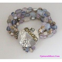 Silpada Artisan Jewelry Blue Purple Amethyst Pearl Shell Sterling Silver Stonecrafter Stretch Bracelet Retired